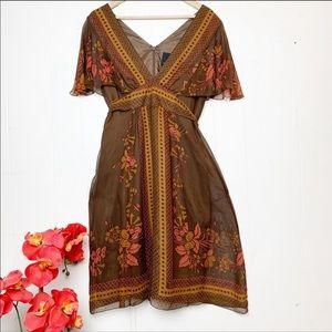 🍂HTF Anthro Anna Sui Silk Floral Scarf Dress🖤